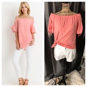 Pink Coral Off Shoulder Top with Tie Sleeve Detail